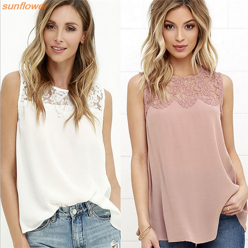 Elegant Floral Lace Patchwork Women Sleeveless Office Work Blouse White Casual Tops Lady Spring Summer Shirt