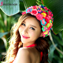 New arrival Flower Swim Cap for Woman Swimming Hat Long Hair Flowers Design Caps Sexy floral womens hats free shipping