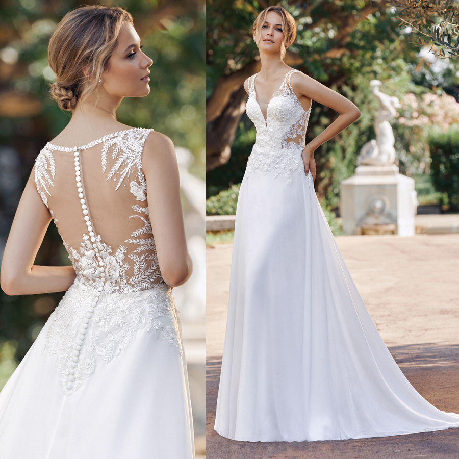 Chiffon A Line Spaghetti Straps Embroider Lace Wedding Dress Illusion Back with Button Elegant Bridal Dress