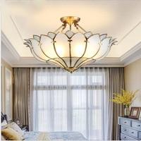 L Copper semi chandelier European living room lighting romantic warm bedroom room restaurant American semi ceiling copper lamp