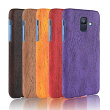 For Samsung Galaxy A6 2018 Case Hard PC+PU Leather Retro wood grain Phone Cover Luxury Wood