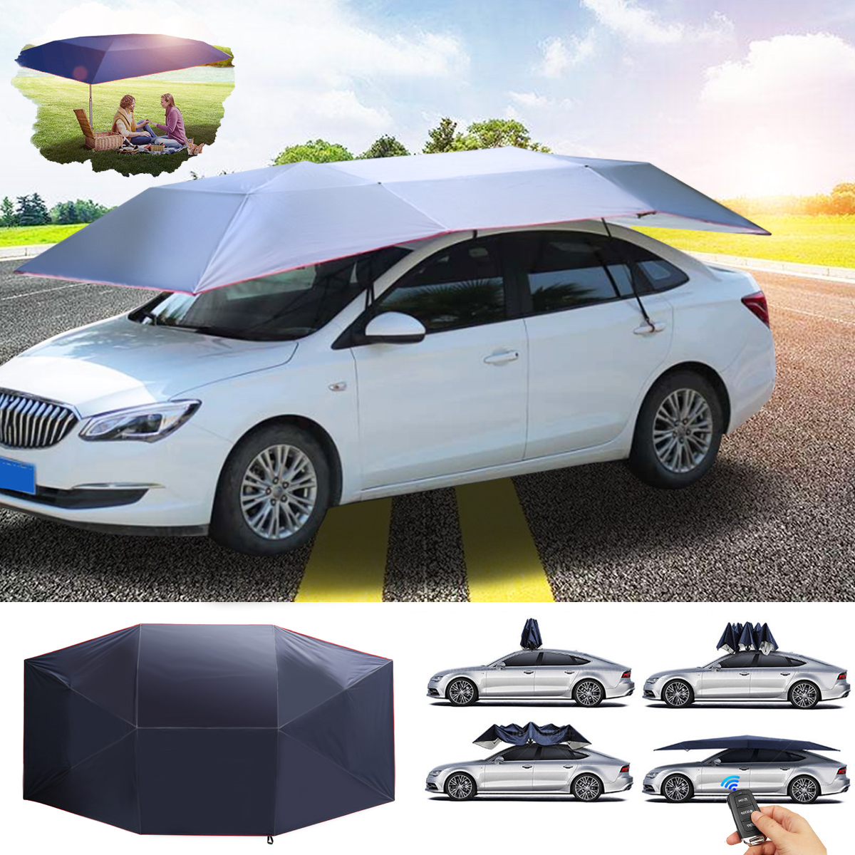 Portable umbrella car roof cover heavy duty tool chest