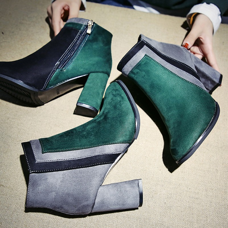 2018 Mixed Color Ankle Boots, Women's Thick High Heels Chelsea Boots, Ladies Patchwork Winter Martin Boots 3
