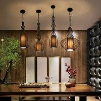 Vintage Iron Black Pendant Light Cage Lampshade Hanging Lamps E27 Droplight Retro Bar Kitchen Light Fixtures Home luminaria