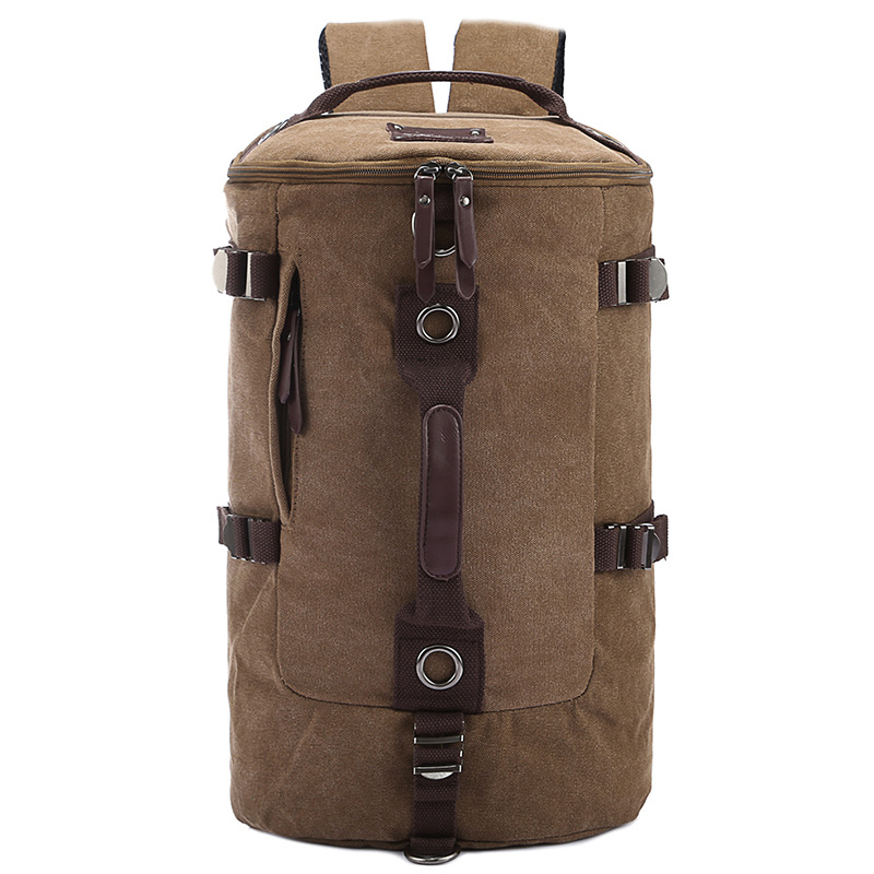 The New canvas men and women backpack Multi-function cylinde Computer backpack student bag Support Drop shipping