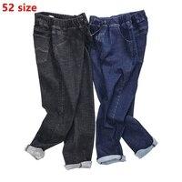 גודל גדול XL MENS מותג גאות שומן ג 'ינס מותניים אלסטי קאובוי טהור ענקיות תנועה גברית