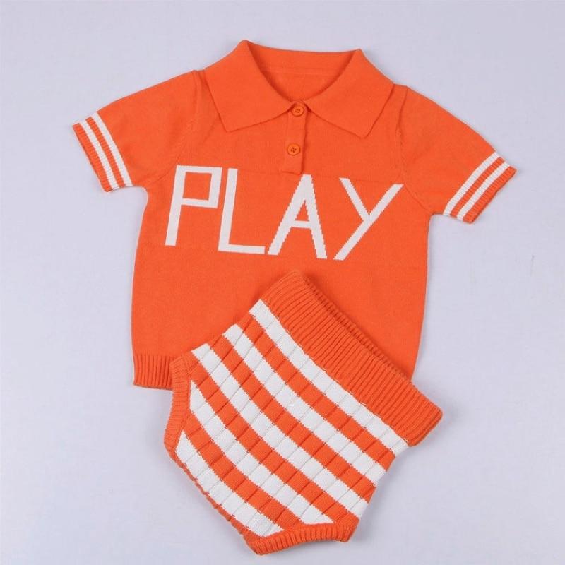 a59b8e28b Summer Baby Cotton Knitting Sweater Kids Polo Collar T shirt Knitted ...