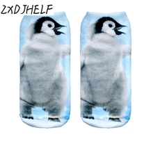 ZXDJHELF Women Low Cut Ankle Socks Funny Penguin Animal 3D Print Sock Casual Breathable Cotton Hosiery Unisex Printed Sox S0134