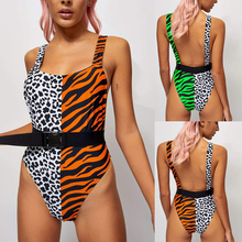 FXBIKINY Leopard Print Bikini 2019 High Cut One Piece Swimsuit Female Belt Monokini Bandeau Push Up Swimwear Thong Bathing Suit