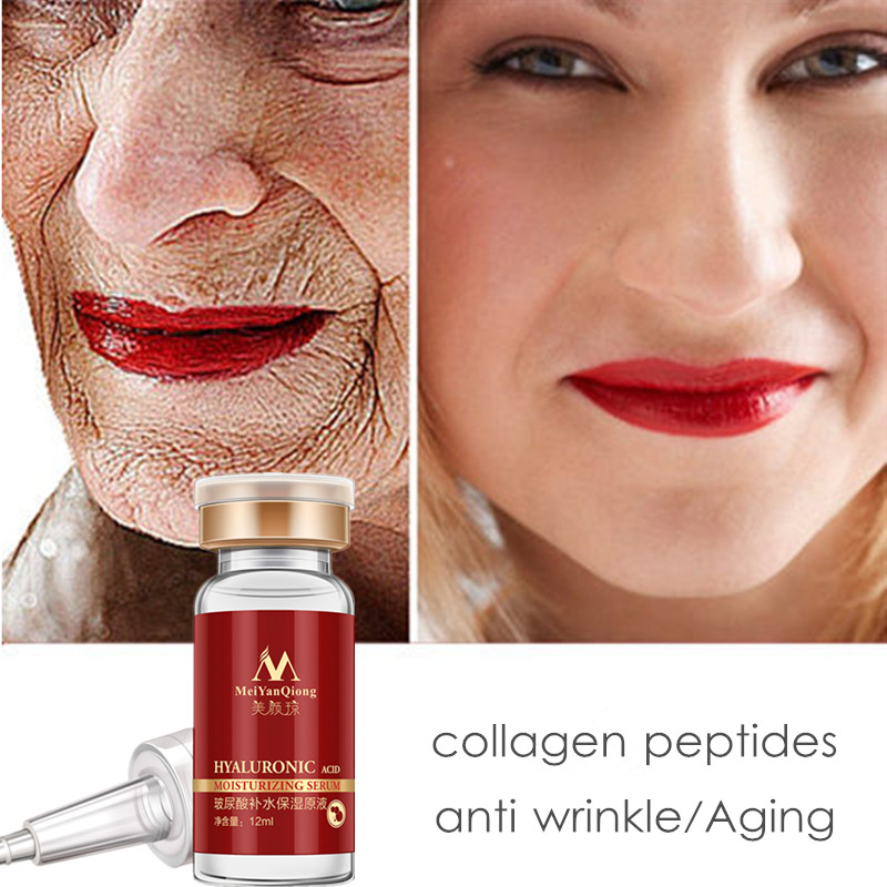 MeiYanQiong Hyaluronic Acid Face Serum Peptides Anti Wrinkle Anti Aging Moisturizing Serum Ageless Facial Skin Care Cosmetic