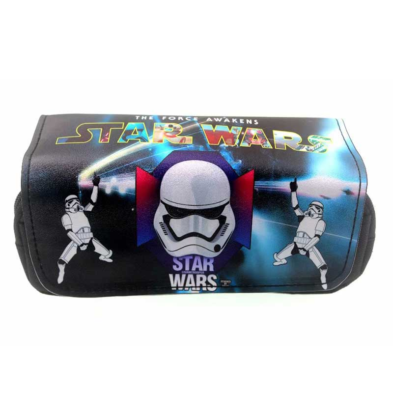 Baby Yoda Star Wars Pencil Bag Leather Pencil Case Stationery Holder Anime Star War Purse Double Zipper Organizer Wallet Gifts
