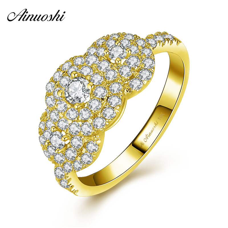 AINUOSHI 10k Solid Yellow Gold Double Halo Ring Woman Wedding Engagement Jewelry 0.11ct Round Cut Bridal Band Shinning CZ Ring