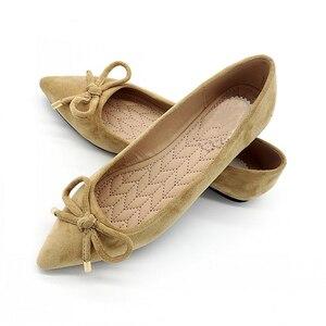 Image 3 - BEYARNEElegant Mùa Xuân PlusSize Căn Hộ Đàn Bowtie nữ Đế Bằng Mũi Nhọn Thoải Mái Nữ Người Phụ Nữ Giày Đế Bằng Nữ SingleShoes