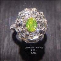 Ani 18 К из белого золота (au750) для женщин обручальное кольцо сертифицированные vs2 Luxury 3.37 КТ Необычные интенсивный зеленовато-желтый Diamond Halo Кол...