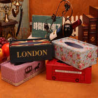 Européen support en fer boîte à mouchoirs maison décoration de table de serviette carrée feuille papier boîte De Rangement automatique de serviettes en papier