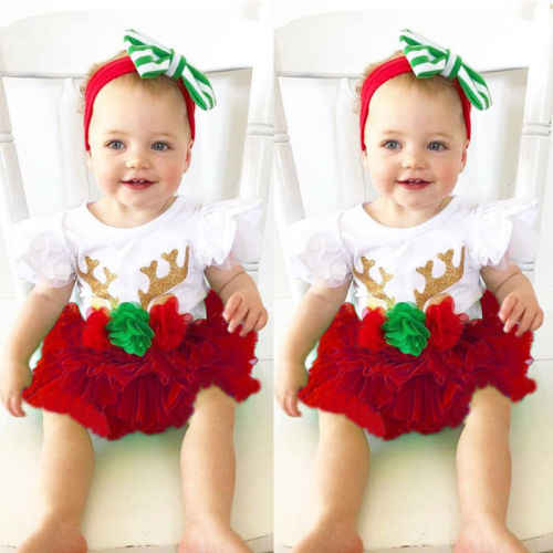 79b78491e957 Detail Feedback Questions about 2018 New Xmas Clothes Kid Baby Girls  Christmas Deer Romper Princess Red Tutu Skirt Infant Toddler Outfits  Children Clothes ...