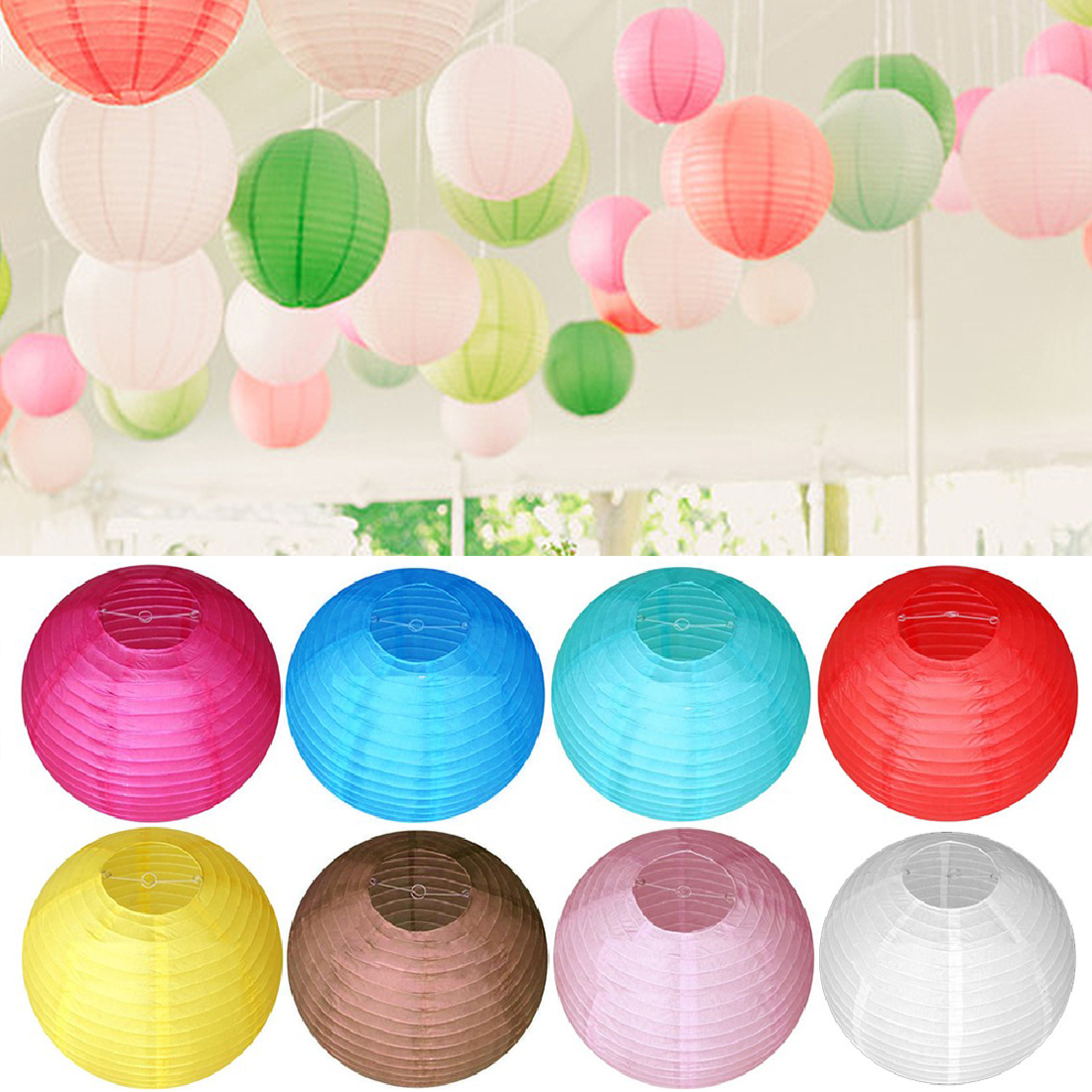 Nice Round Chinese Paper Lantern Birthday Wedding Party Decor Gift Craft DIY Lamp White Hanging Lantern Ball Party Supplies 20cm