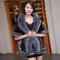 2015 autumn and winter women's luxury faux mink fur coat fur shawl faux fox fur medium-long cloak thicken warm big  pashmina