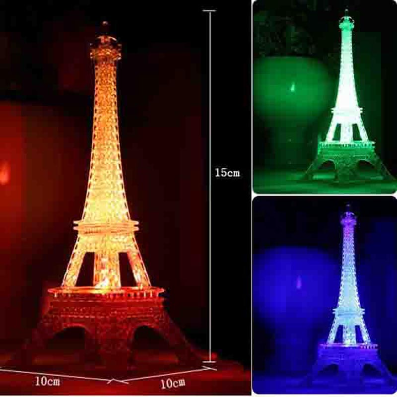 figuras en miniatura de colores de luz led ideas romnticas eiffel torre europea artesanas nightlight creativo
