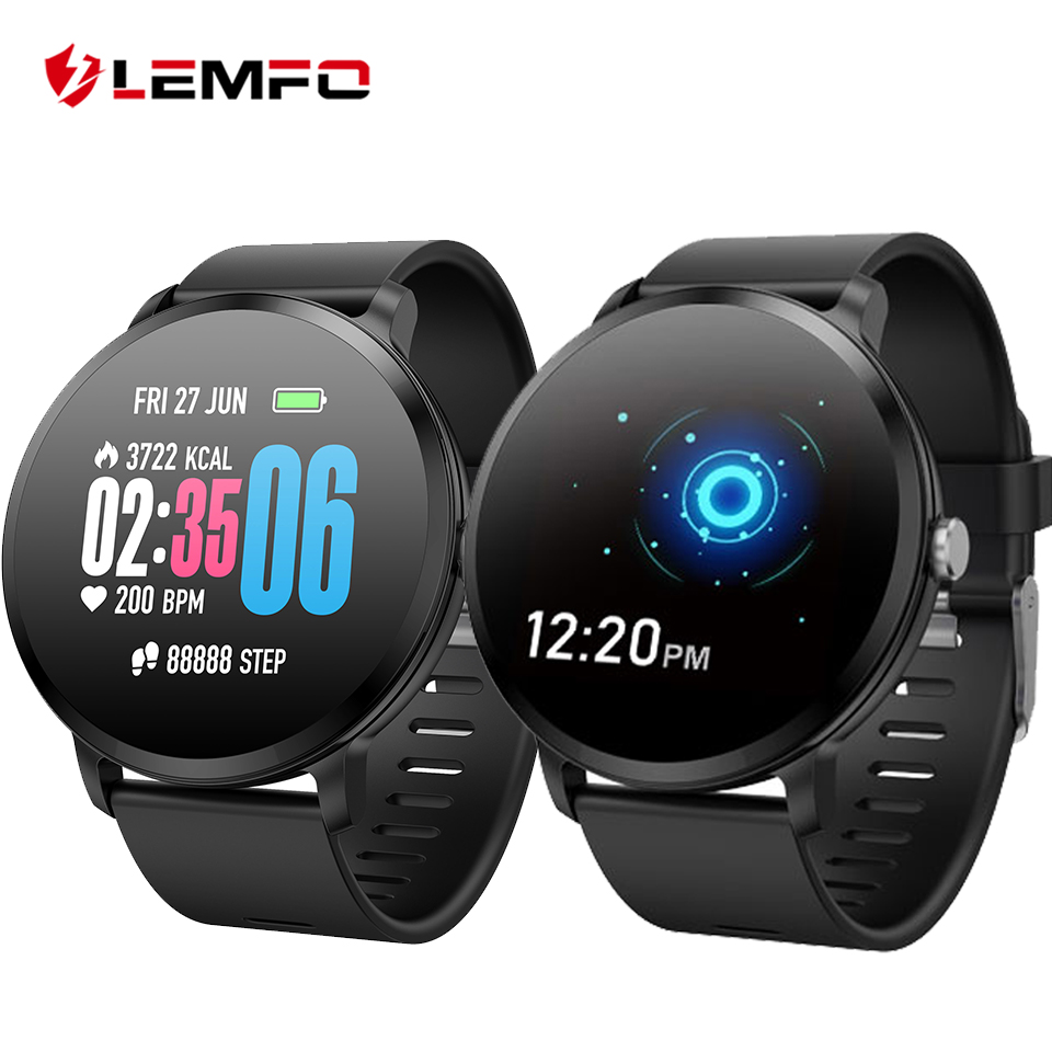 все цены на LEMFO Smartwatch Real-time Heart Rate Blood Pressure Monitor Multi-sport mode Breathing Light Smart Watch for Android IOS Phone онлайн