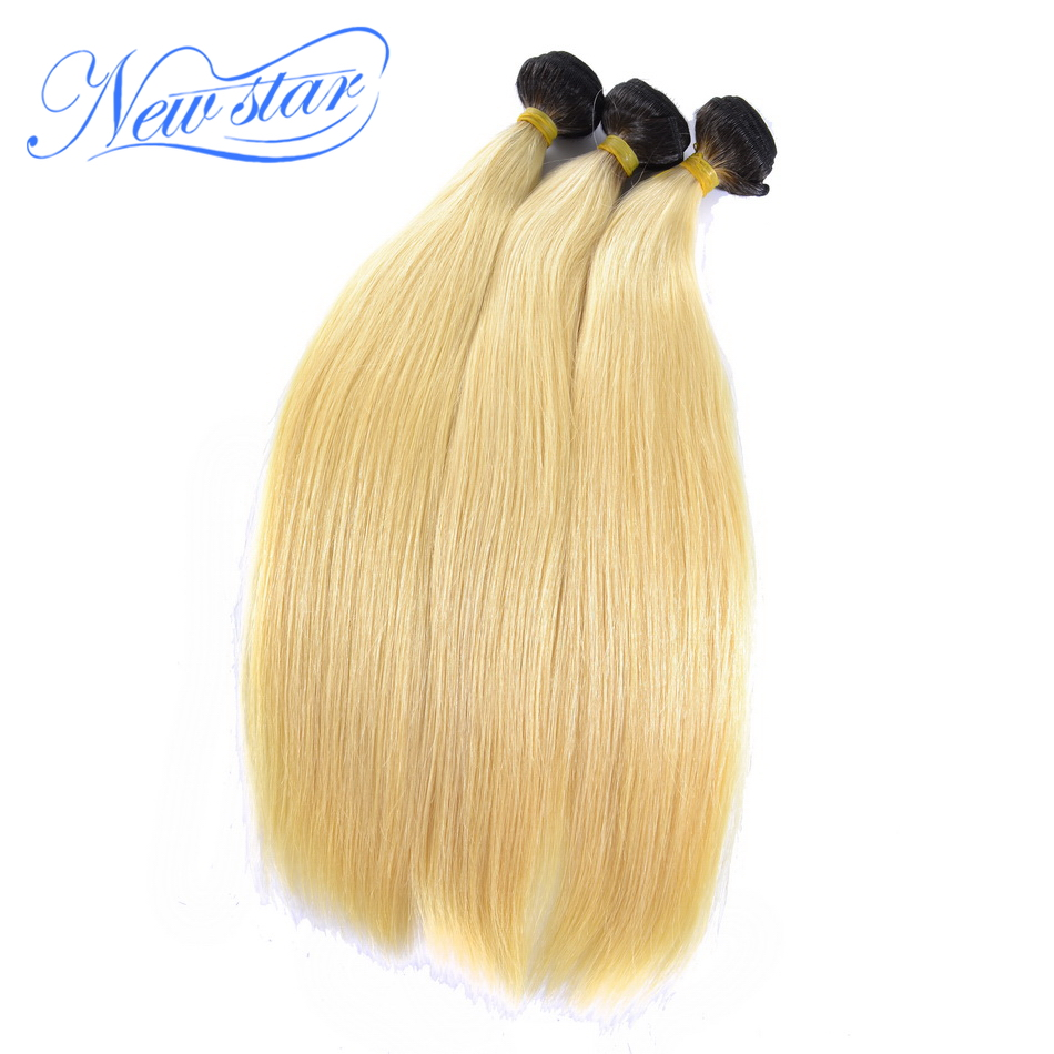 Brazilian Remy Hair T1B 613 Straight 3 Bundles Black Roots Blonde Hair Weaving 100 Human Hair