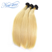 Brazilian Remy Hair T1B/613 Straight 3 Bundles Black Roots Blonde Hair Weaving 100% Human Hair New Star Products
