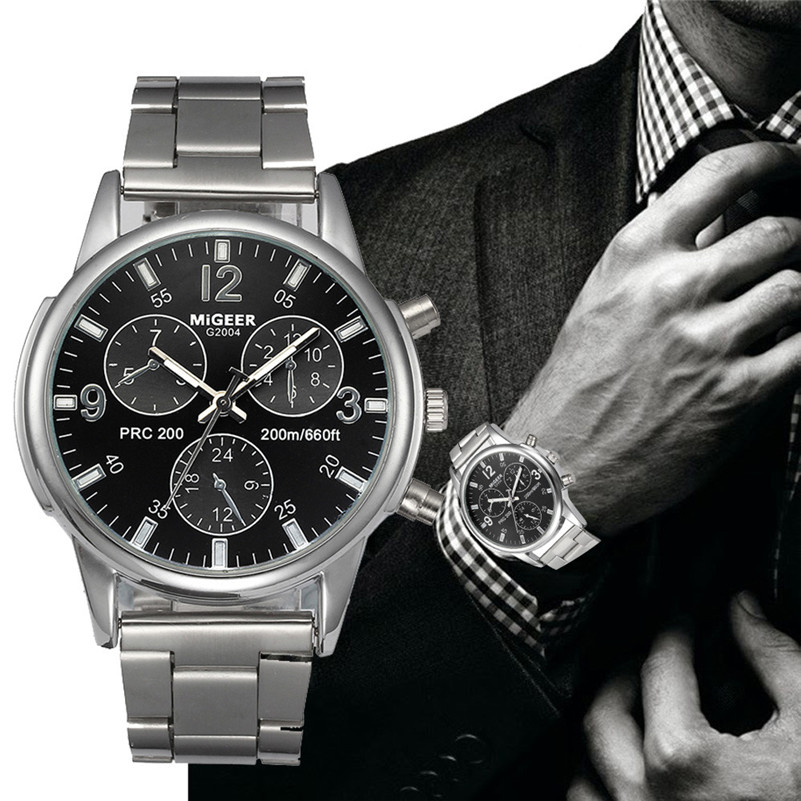 MIGEER 2017 Fashion Luxury Men Crystal Stainless Steel Analog Quartz Wrist Watch Bracelet relogios masculino montre Hour Clock