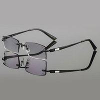 2015 Latest Trimming Titanium Eyewear Male Models Diamond Crystal Trimming Black Rimless Finished Prescription Glasses