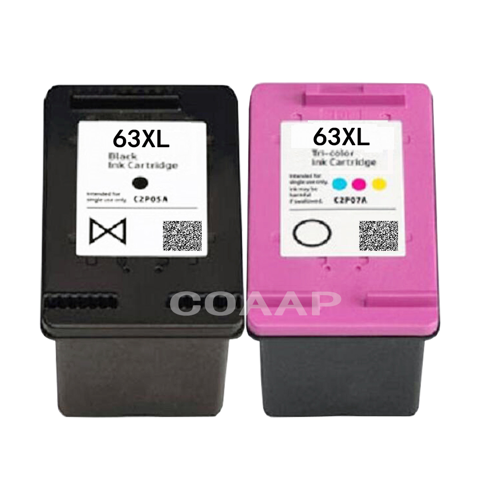 2 Replacement 63XL Ink Cartridge for Refilled HP63XL 63xl HP63 for Compatible HP DeskJet 3630 3632 Officejet 4652 4655 Printer2 Replacement 63XL Ink Cartridge for Refilled HP63XL 63xl HP63 for Compatible HP DeskJet 3630 3632 Officejet 4652 4655 Printer