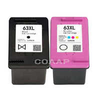2 cartuchos de tinta de repuesto 63XL para recarga HP63XL 63xl HP63 para impresora Compatible HP DeskJet 3630 3632 Officejet 4652 4655