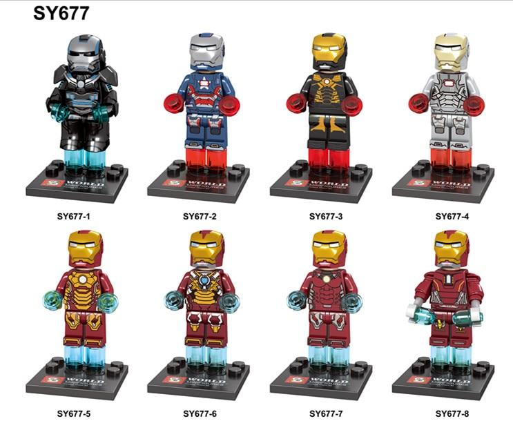 80PCS SY677 Marvel DC Super Hero Single Sale Figure Avenger ironMan Building Blocks toys