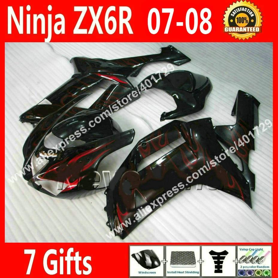 Free custom Fairings for Kawasaki ZX6R 2007 2008 Ninja 636 07 08 motorcycle black red flames fairing kits VG46