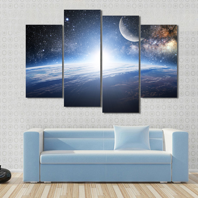 Modern Frames For Painting Modular Pictures 4 Panel Planet Landscape Wall Art Living Room