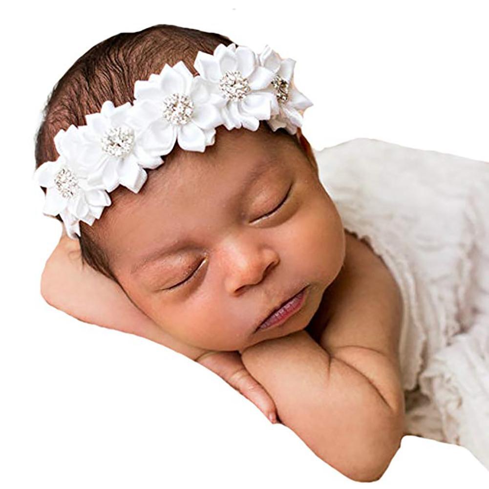 Toddler Baby Girls Faux Flower Pearl Baptism Headband Headdress Photo Props