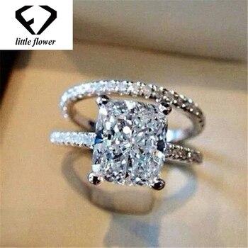 75c75d53eba3 925 anillo De plata esterlina Diamante zafiro blanco De joyería De encanto  De las mujeres Anillos