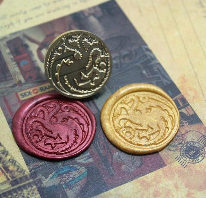 Hot Game of Thrones Targaryen wax seal stamp with handle,Scrapbooking DIY Ancient Seal Retro stamp,Vintage high quality 30cm wax seal stamp a song of ice and fire game of thrones house of stark wolf targaryen dragon lannister lion diy sealing copper