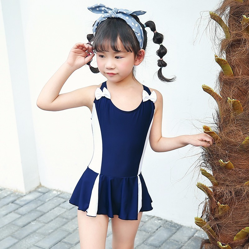 Kids Swimwear Skirt One Piece Swimsuit Sports Girls Conservative Swim Wear Bowknot Children Bodysuit Baby Girl Bathing Suit one piece swimsuit children s swimwear girl children baby swim wear kids cute swimsuits 2017 new buoyancy life biquini infantil
