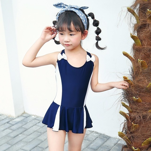 7e74c794ee Kids Swimwear Skirt One Piece Swimsuit Sports Girls Conservative Swim Wear  Bowknot Children Bodysuit Baby Girl Bathing Suit