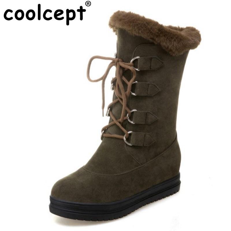 Coolcept Women Snow Boots Lace up Wedage Increasing Height Shoes Women Plush Fur Platform Fashion Women