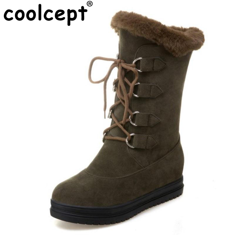 43 Moda De Nieve Mujeres Felpa Calzado Altura Cordones Coolcept Size34 Negro Creciente Wedage Plataforma Zapatos verde gris Militar Botas wSfqnxpx6
