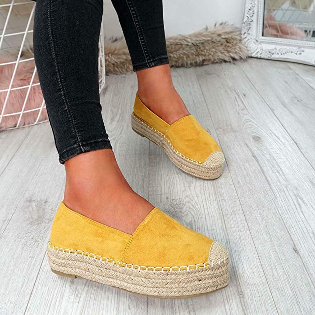 Hot Women Plus Size Platform Shoes,Casual Round Toe Flats Comfortable Single Shoes,Fashion Grass Weaving Slip On