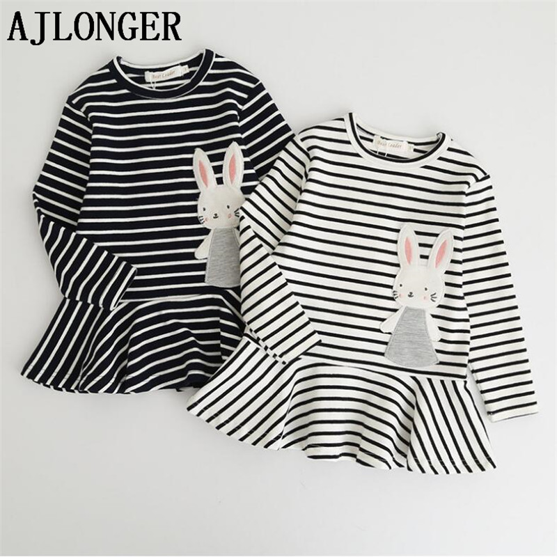 AJLONGER Girl Dress Cotton Autumn Long Sleeve Cartoon Comfortable Striped Rabbit