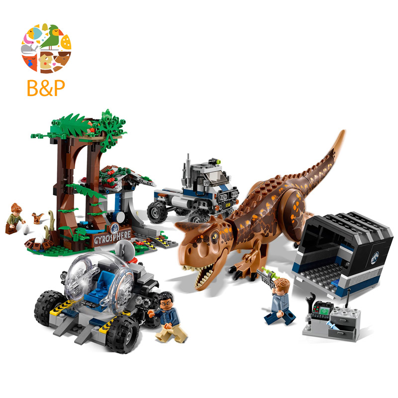 legoing Jurassic World series Carnotaurus Gyrosphere Escape Model Building Block Toy For Children Gift compatible 75929 bela 10393 my world the nether fortress model self locking building block classic architecture toy for children compatible 21122