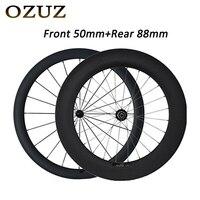 OZUZ road bike wheels R13 38mm 50mm 88mm Ultra Light Carbon Wheels 23mm Wide Clincher Carbon Road Bike 3k 700c carbon wheelset