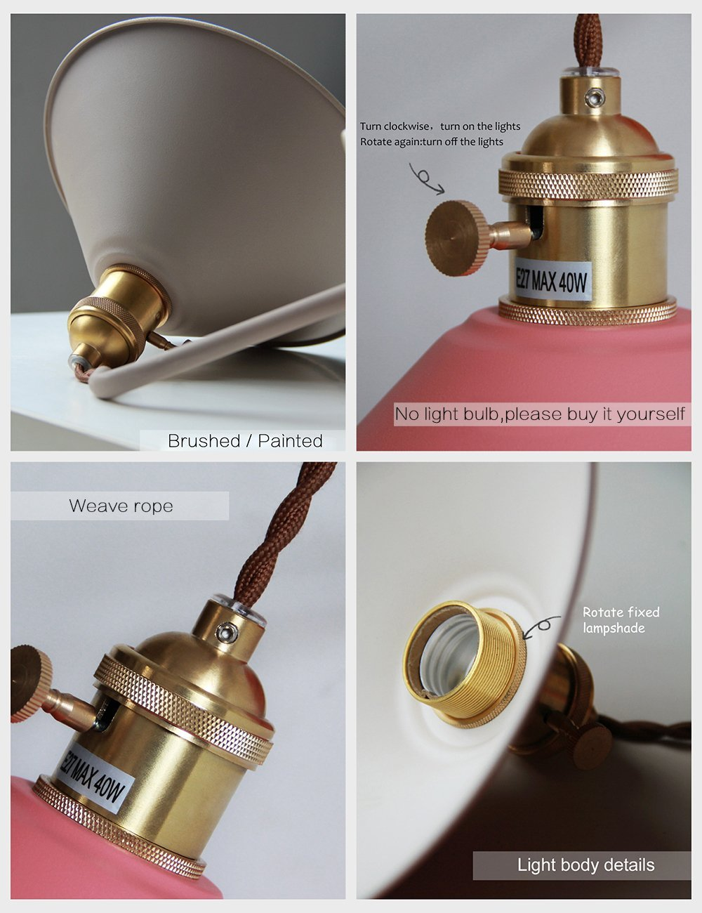 Image 2 - Modern Bedside wall lamp edison aisle sconce bedroom Read wall light Colorful bathroom E27 Pure copper holder light fixtures-in LED Indoor Wall Lamps from Lights & Lighting