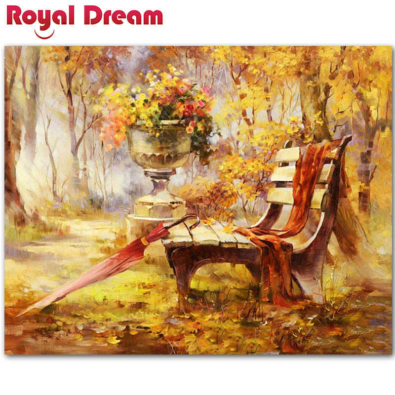 Bench Autumn Landscape DIY Digital Oil Painting By Numbers Paint On Canvas Painting For Living Room Wall Art Home Decor