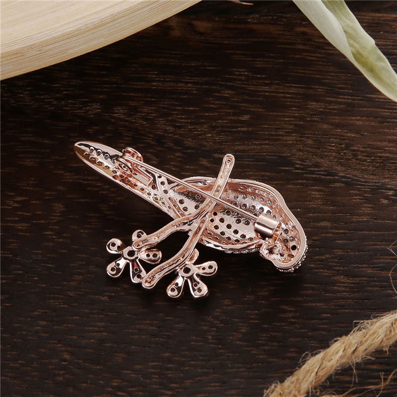 Micro Pave Ladies Elegant Brooch Gold Color Metal Austrian Crystal Animal Bird Brooch Zirconia Pins and Brooches for Women (3)