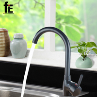 FiE New Polished Black White Brass Kitchen Sinks Faucet Kitchen Cold And Hot Water Mixer Tap