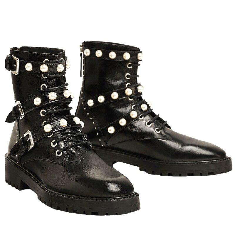 b6647b7dd03 Cozy Señoras As Botas Corto Martin Fresco Moda atado Zapatos Perla Cruz Pic  Tobillo Mortorcycle Nuevo Remaches Mujer ZEqOFEwA