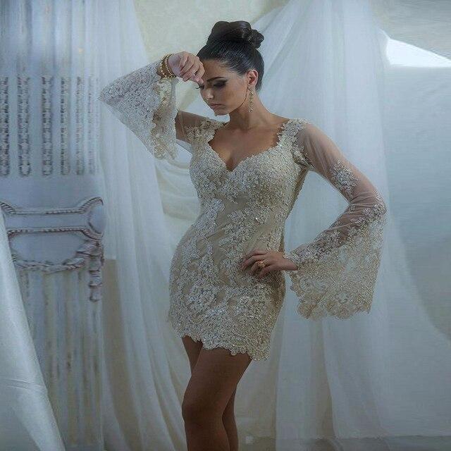 Elegant Long Sleeve Champagne Cocktail Dresses 2017 Sheath V Neck Lace Appliques Sequins Women Formal Party Gowns JW04